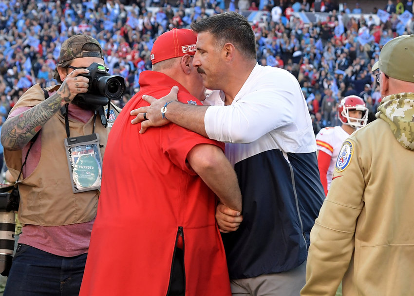 Tennessee Titans head coach Mike Vrabel and Kansas City Chiefs head coach Andy Reid meet to shake hands following the Titans victory over the Chiefs Sunday, Nov. 10, 2019, at Nissan Stadium in Nashville, Tenn.