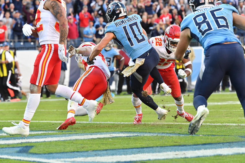 Tennessee Titans wide receiver Adam Humphries (10) on his way to a touchdown that would give the Titans the lead over the Kansas City Chiefs late in the fourth quarter of the game Sunday, Nov. 10, 2019, at Nissan Stadium in Nashville, Tenn.