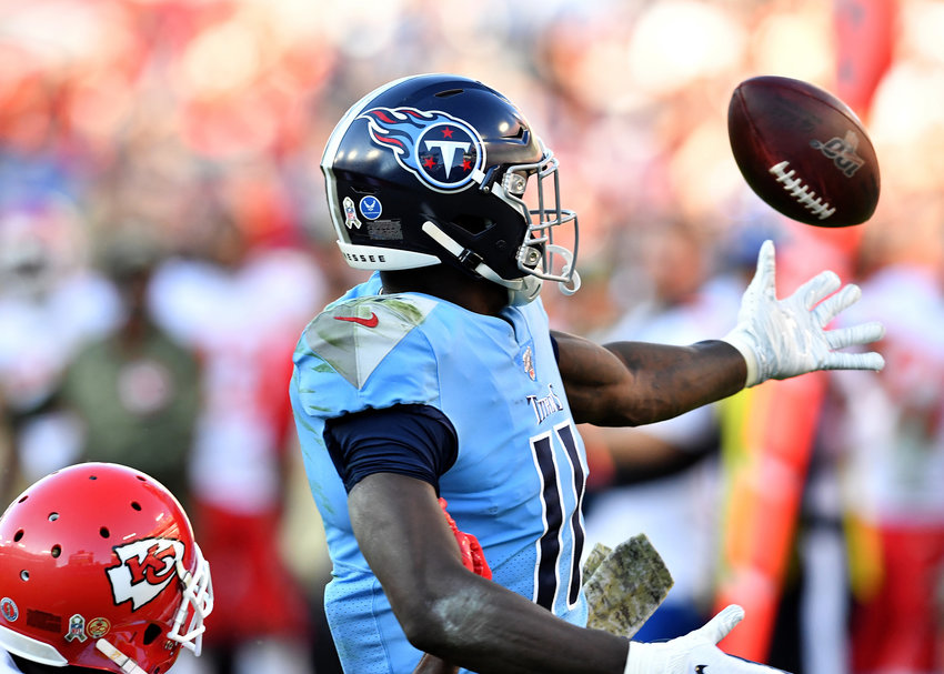 Tennessee Titans wide receiver A.J. Brown (11) can't make the catch late in the fourth quarter of the game against the Kansas City Chiefs Sunday, Nov. 10, 2019, at Nissan Stadium in Nashville, Tenn.