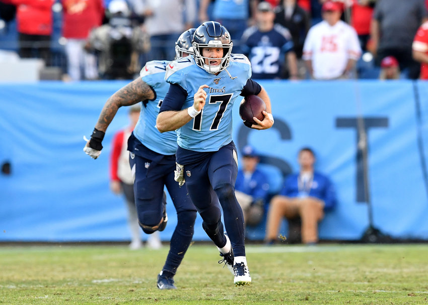 Tennessee Titans quarterback Ryan Tannehill (17) on a keeper for a first down in the second half of the NFL football game against the Kansas City Chiefs Sunday, Nov. 10, 2019, at Nissan Stadium in Nashville, Tenn.