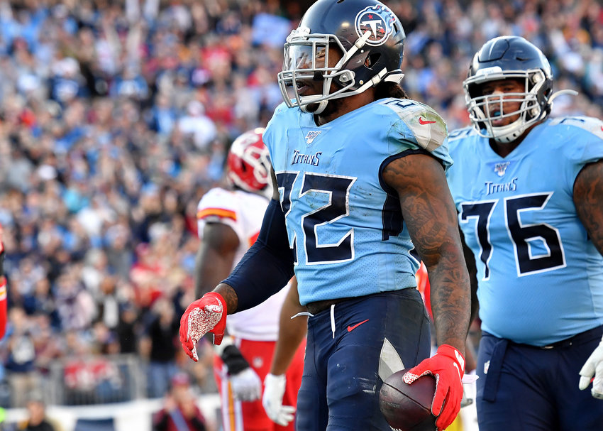 Tennessee Titans running back Derrick Henry (22) scores a touchdown late in the fourth quarter of the game against the Kansas City Chiefs Sunday, Nov. 10, 2019, at Nissan Stadium in Nashville, Tenn.