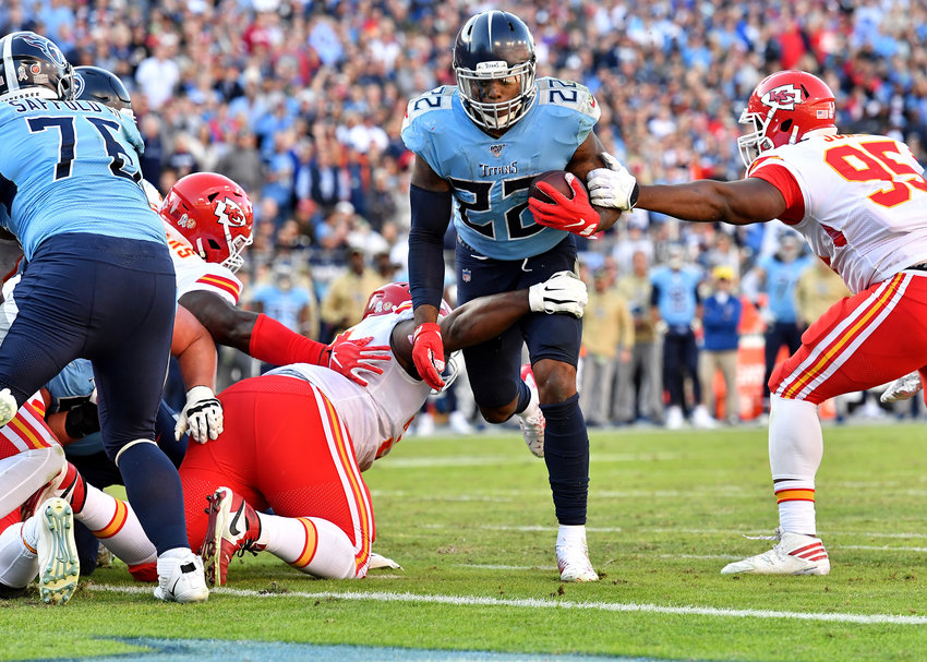 Tennessee Titans running back Derrick Henry (22) on his way to a touchdown late in the fourth quarter of the game against the Kansas City Chiefs Sunday, Nov. 10, 2019, at Nissan Stadium in Nashville, Tenn.