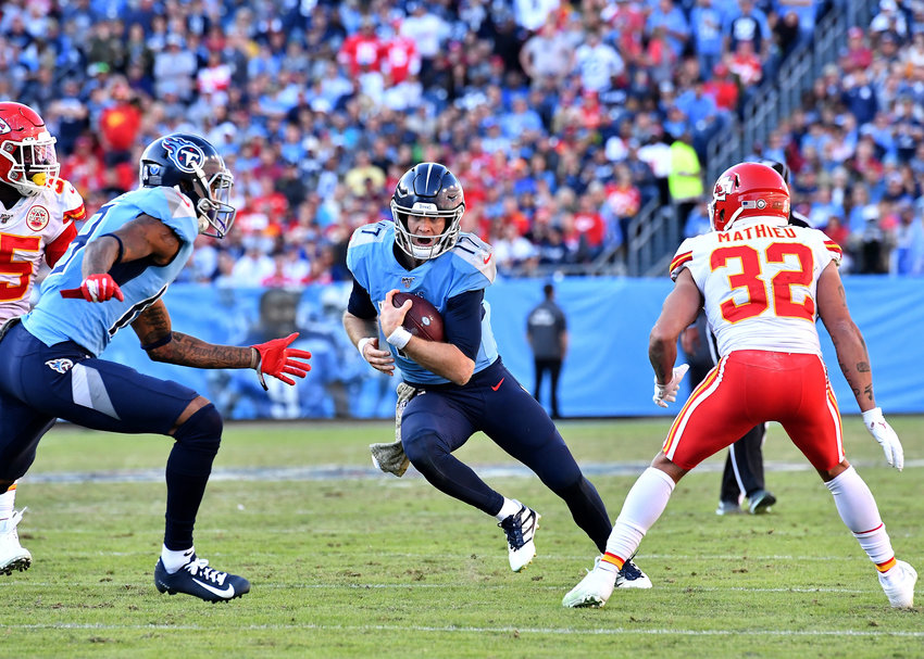 Tennessee Titans quarterback Ryan Tannehill (17) with a keeper in the second half of an NFL football game against the Kansas City Chiefs at Nissan Stadium in Nashville, Tenn., Sunday, Nov. 10, 2019.