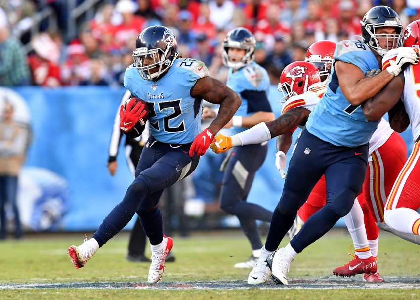 Tennessee Titans running back Derrick Henry (22) on a run in the second half of an NFL football game against the Kansas City Chiefs at Nissan Stadium in Nashville, Tenn., Sunday, Nov. 10, 2019.