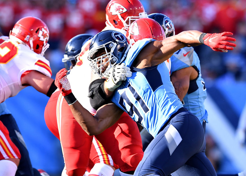 Tennessee Titans linebacker Cameron Wake (91) tries to work the edge in the second half of an NFL football game against the Kansas City Chiefs at Nissan Stadium in Nashville, Tenn., Sunday, Nov. 10, 2019.