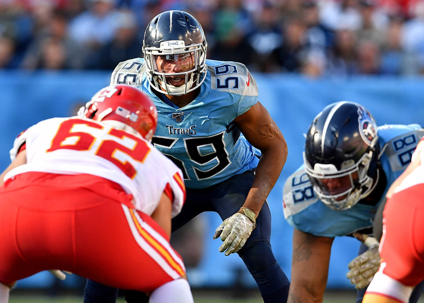 Tennessee Titans inside linebacker Wesley Woodyard (59) awaits the snap in the second half of the game aganst the Kansas City Chiefs Sunday, Nov. 10, 2019, at Nissan Stadium in Nashville, Tenn.