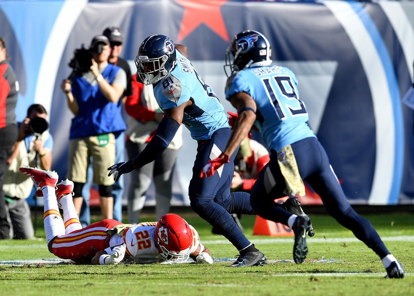 Tennessee Titans tight end Jonnu Smith (81) avoids a tackle in the second half of an NFL football game against the Kansas City Chiefs at Nissan Stadium in Nashville, Tenn., Sunday, Nov. 10, 2019.