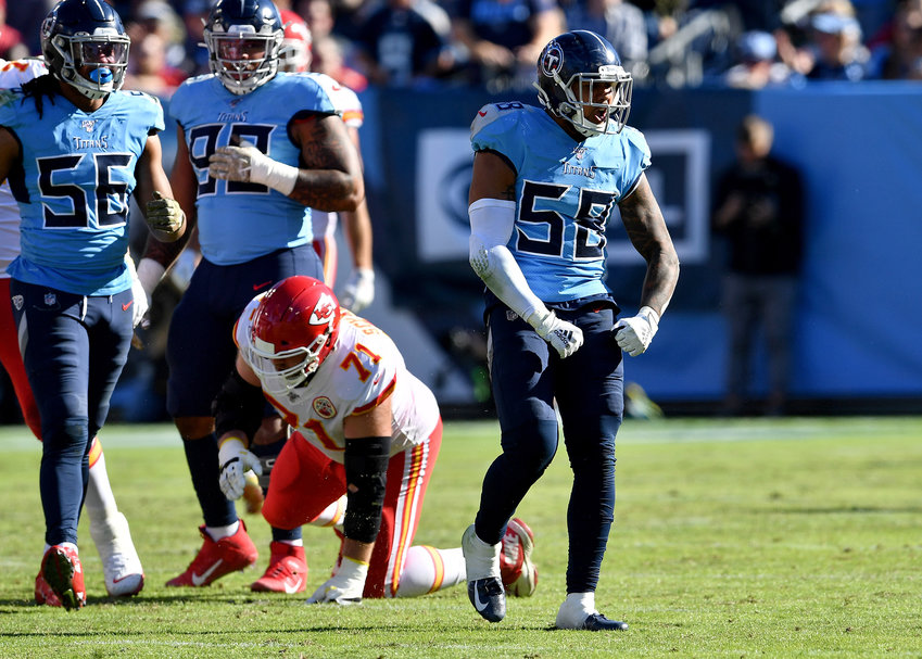 Tennessee Titans linebacker Harold Landry (58) celebrates his sack of the Chiefs quarterback during the first half of the NFL football game Sunday, Nov. 10, 2019, at Nissan Stadium in Nashville, Tenn.