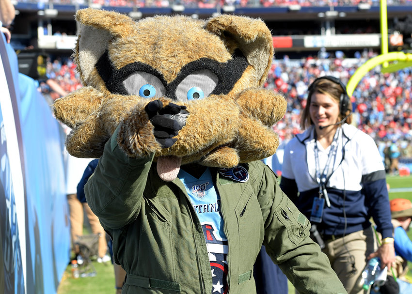 Tennessee Titans mascot T-Rac on the sidelines during the first half of an NFL football game against the Kansas City Chiefs at Nissan Stadium in Nashville, Tenn., Sunday, Nov. 10, 2019.