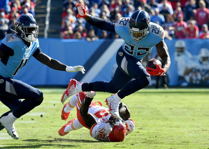 Tennessee Titans running back Derrick Henry (22) in action during the first half of an NFL football game against the Kansas City Chiefs at Nissan Stadium in Nashville, Tenn., Sunday, Nov. 10, 2019.