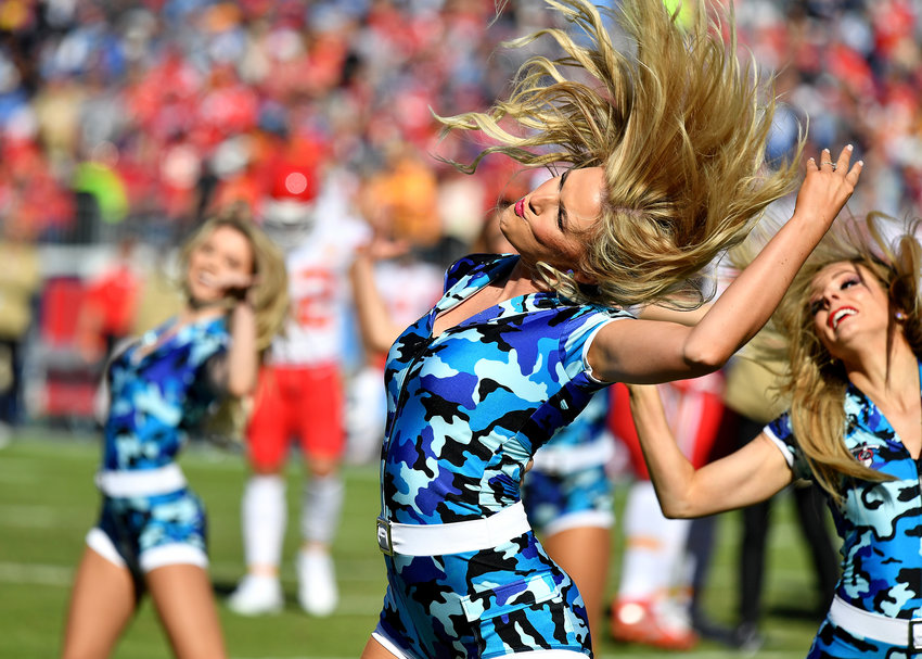 Tennessee Titans cheerleaders perform during the NFL football game between the Tennessee Titans and the Kansas City Chiefs Sunday, Nov. 10, 2019, at Nissan Stadium in Nashville, Tenn.