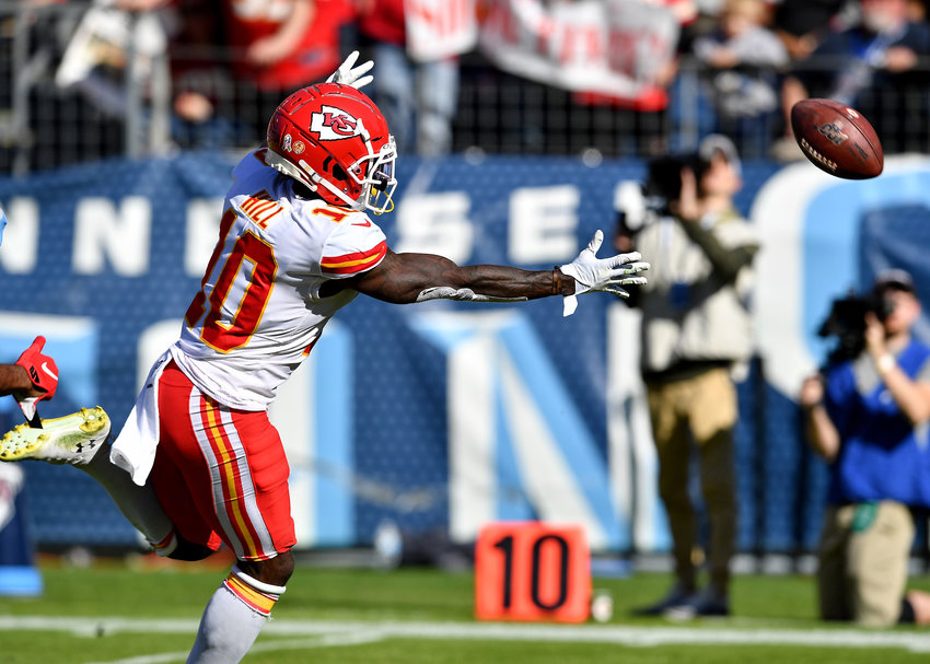 Kansas City Chiefs wide receiver Tyreek Hill (10) can't make the catch in the half of the NFL football game between the Tennessee Titans and the Chiefs Sunday, Nov. 10, 2019, at Nissan Stadium in Nashville, Tenn.