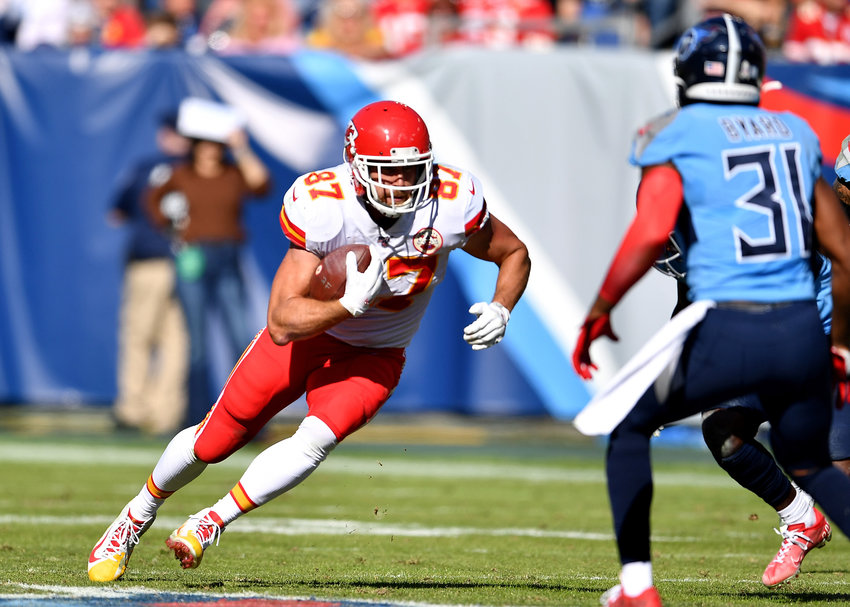 Kansas City Chiefs tight end Travis Kelce (87) in action during the first half of the game against the 