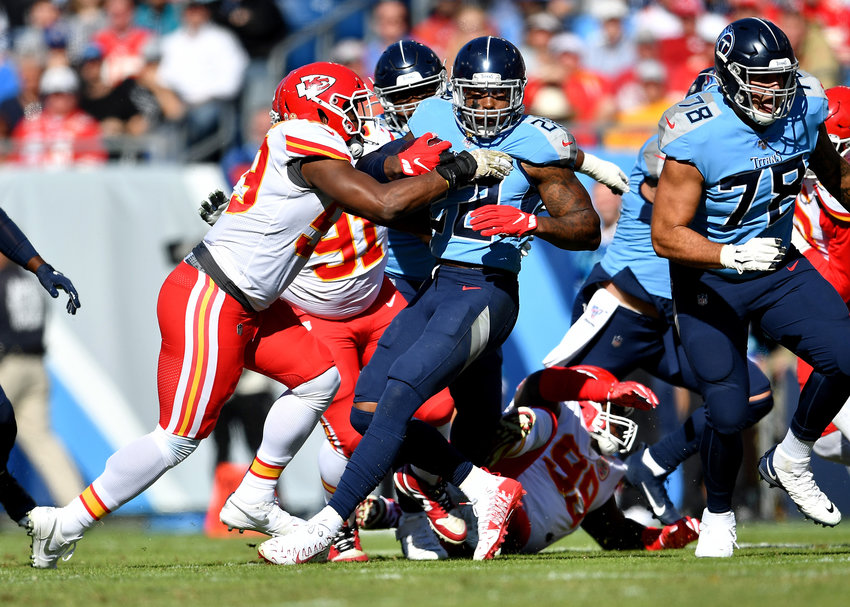 Tennessee Titans running back Derrick Henry (22) looks for room to run during the first half of the game against the Kansas City Chiefs at Nissan Stadium in Nashville, Tenn., Sunday, Nov. 10, 2019.