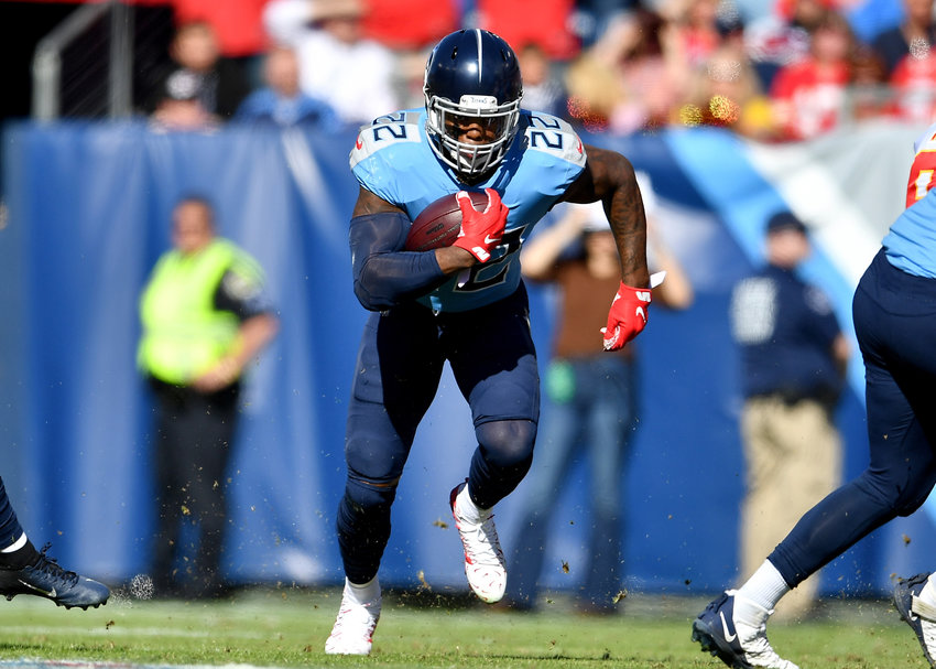 Tennessee Titans running back Derrick Henry (22) finds a lot of room up the middle during the first half of an NFL football game against the Kansas City Chiefs at Nissan Stadium in Nashville, Tenn., Sunday, Nov. 10, 2019.