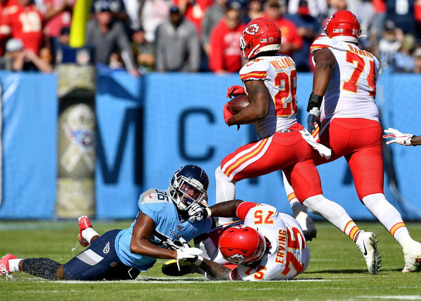 From the first half of the NFL football game between the Tennessee Titans and the Kansas City Chiefs Sunday, Nov. 10, 2019, at Nissan Stadium in Nashville, Tenn.