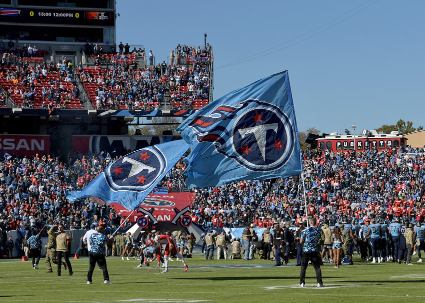 Player introductions prior to the first half of the NFL football game between the Tennessee Titans and the Kansas City Chiefs Sunday, Nov. 10, 2019, at Nissan Stadium in Nashville, Tenn.