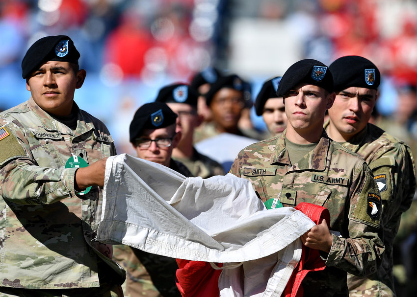 Flag ceremony prior to the NFL football game between the Tennessee Titans and the Kansas City Chiefs Sunday, Nov. 10, 2019, at Nissan Stadium in Nashville, Tenn.