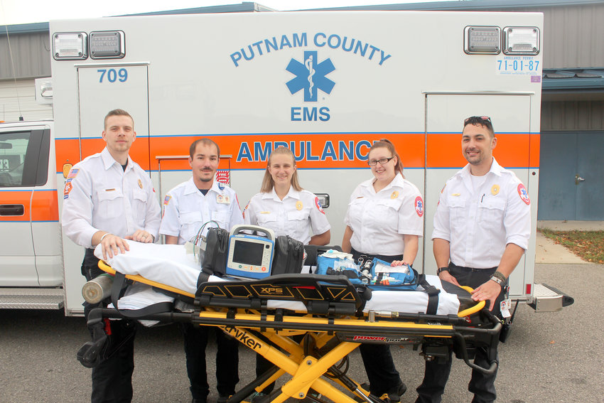 Putnam County has five new paramedics preparing to serve the community. From left are Nick Prall, Jonathan Price, Leah Thomas, Kasey Henley, Dragan Ramsey.