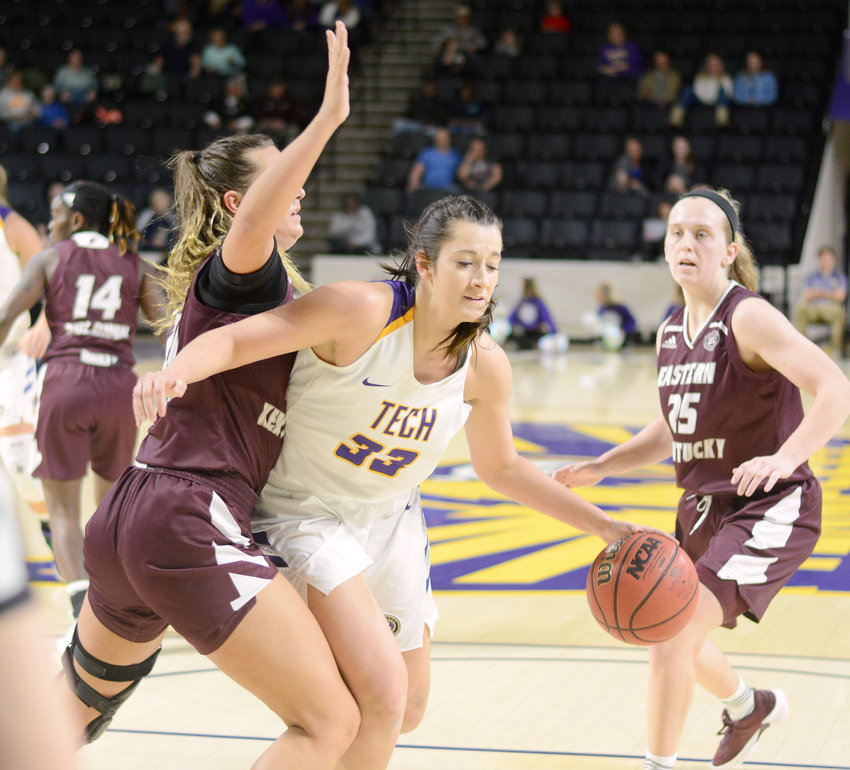 Tennessee Tech's Mackenzie Coleman drives to the basket during a game earlier this season. She had 18 points Saturday to help the Golden Eagles beat Detroit Mercy in Las Vegas.