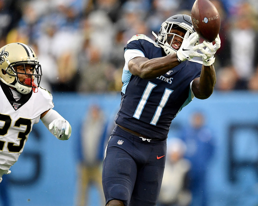 Tennessee Titans wide receiver A.J. Brown (11) with a beautiful fingertip catch in the fourth quarter of an NFL game against the New Orleans Saints Sunday, Dec. 22, 2019, at Nissan Stadium in Nashville, Tenn.