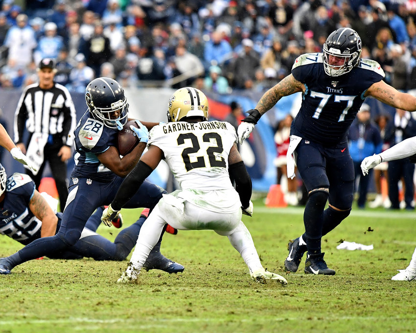 From the second half of an NFL game between the New Orleans Saints and the Tennessee Titans Sunday, Dec. 22, 2019, at Nissan Stadium in Nashville, Tenn.