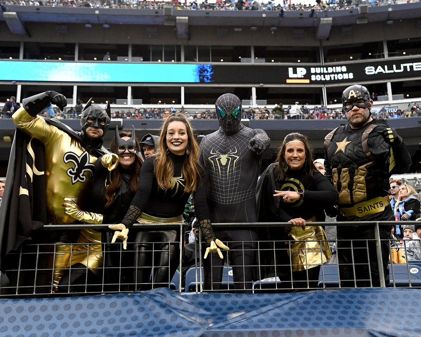 New Orleans fans in the stands during the second half of an NFL game between the Saints and the Tennessee Titans Sunday, Dec. 22, 2019, at Nissan Stadium in Nashville, Tenn.