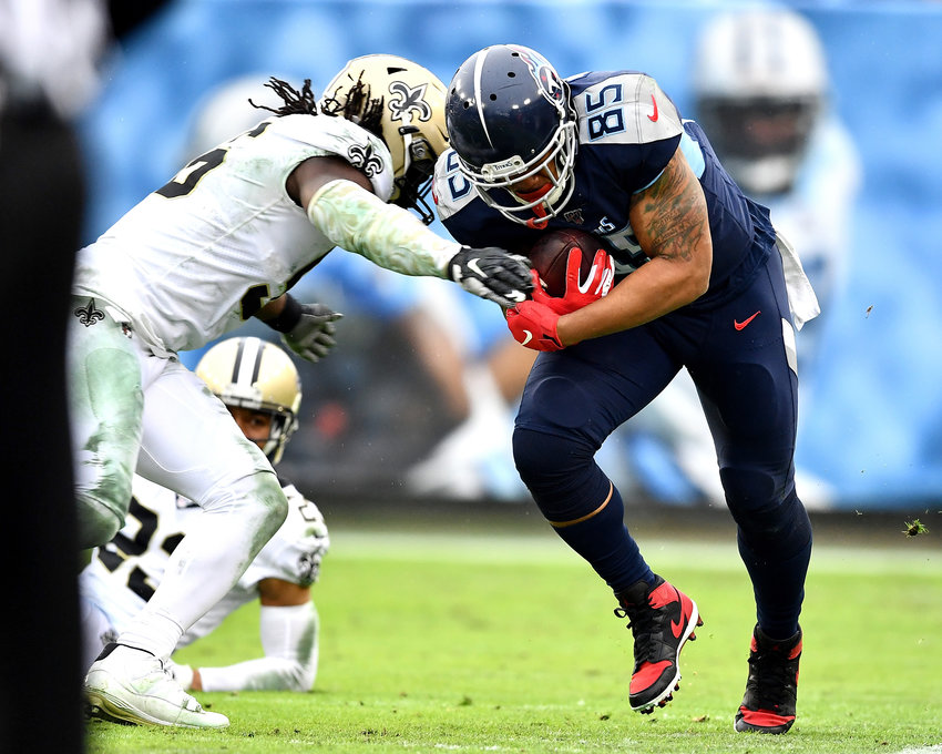 Tennessee Titans tight end MyCole Pruitt (85) in action during the second half of an NFL game against the New Orleans Saints Sunday, Dec. 22, 2019, at Nissan Stadium in Nashville, Tenn.