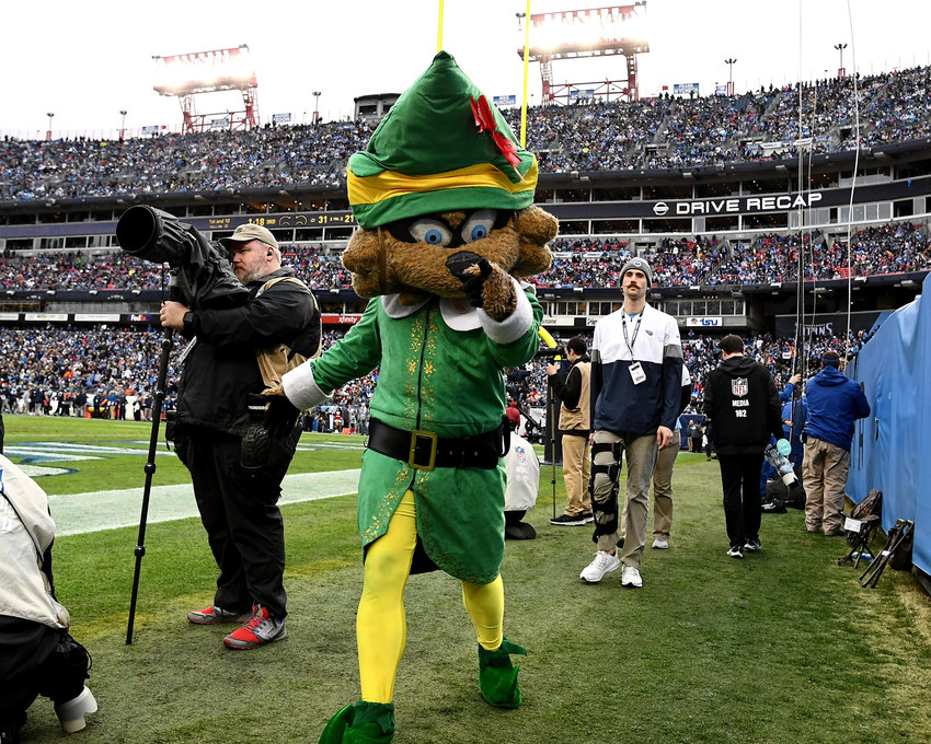 Tennessee Titans mascot, T-Rac, in action during the second half of an NFL game against the New Orleans Saints Sunday, Dec. 22, 2019, at Nissan Stadium in Nashville, Tenn.