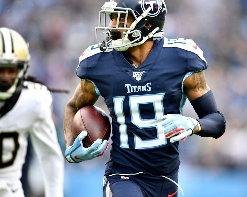 Tennessee Titans wide receiver Tajae Sharpe (19) runs in a reception for a touchdown during the second half of an NFL game against the New Orleans Saints Sunday, Dec. 22, 2019, at Nissan Stadium in Nashville, Tenn.