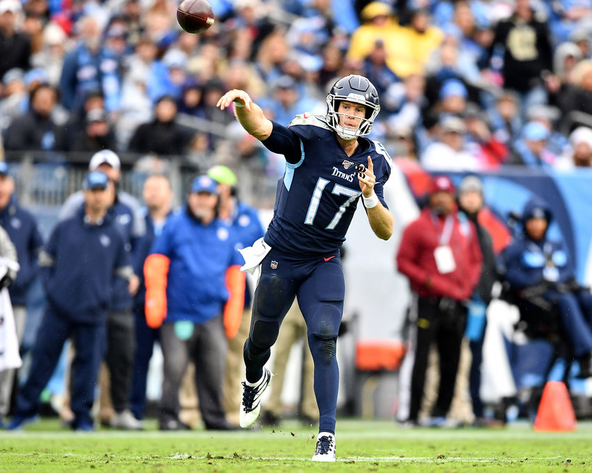 Tennessee Titans quarterback Ryan Tannehill (17) passing during the second half of an NFL game against the New Orleans Saints Sunday, Dec. 22, 2019, at Nissan Stadium in Nashville, Tenn.
