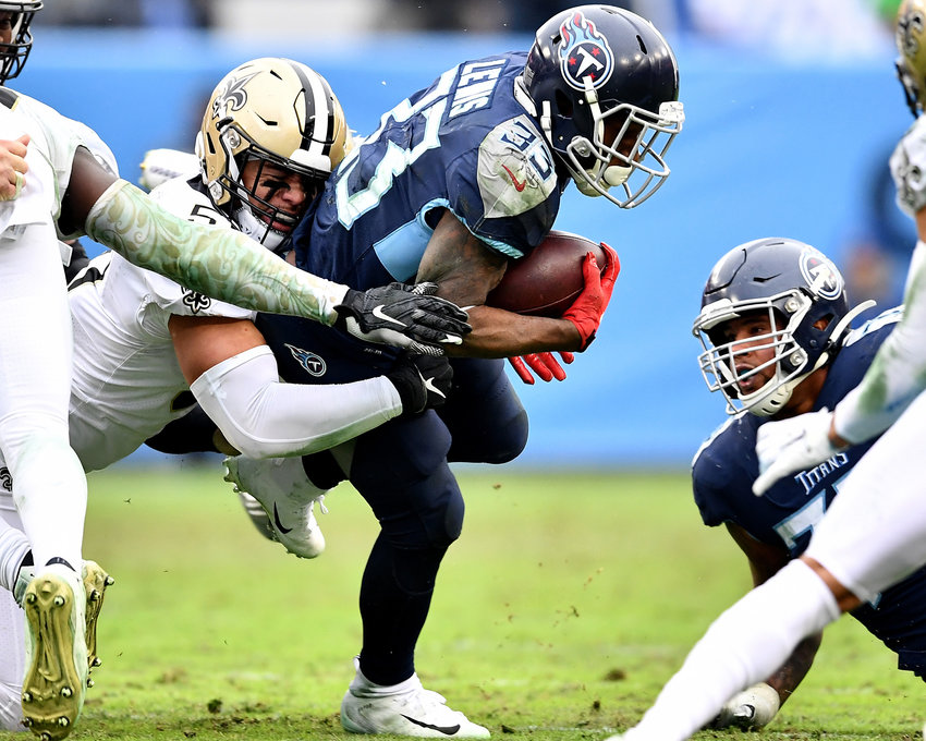 Tennessee Titans running back Dion Lewis (33) on the carry in the second half of an NFL game against the New Orleans Saints Sunday, Dec. 22, 2019, at Nissan Stadium in Nashville, Tenn.
