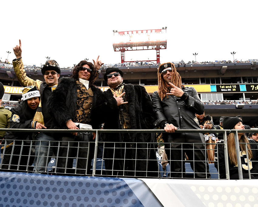 Saints fans in the stands during the second half of an NFL game between the New Orleans Saints and the Tennessee Titans Sunday, Dec. 22, 2019, at Nissan Stadium in Nashville, Tenn.