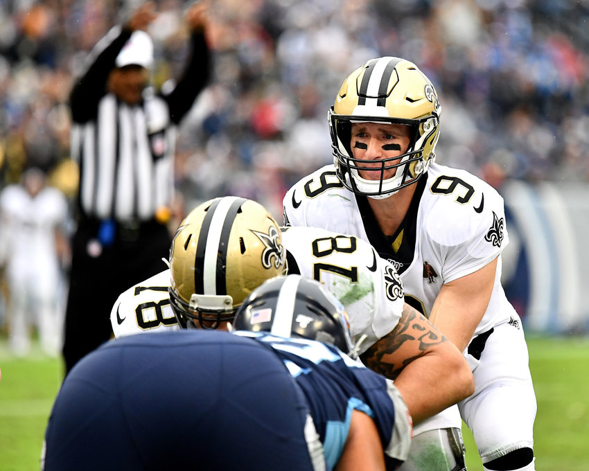 New Orleans Saints quarterback Drew Brees (9) takes the snap under center in the second half of an NFL game against the Tennessee Titans Sunday, Dec. 22, 2019, at Nissan Stadium in Nashville, Tenn.