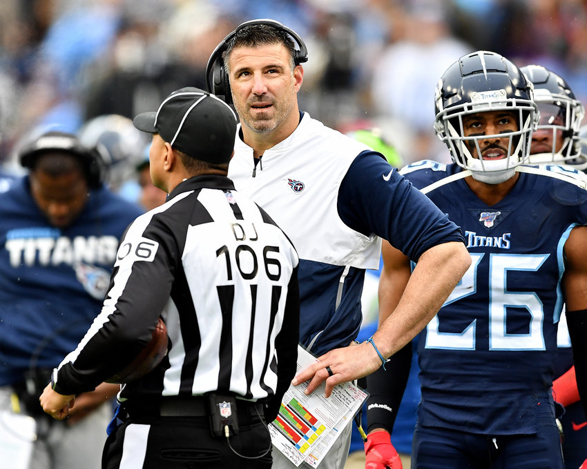 Tennessee Titans head coach Mike Vrabel looks at the replay on the stadium's big screen in the second half of an NFL game between the New Orleans Saints and the Tennessee Titans Sunday, Dec. 22, 2019, at Nissan Stadium in Nashville, Tenn.
