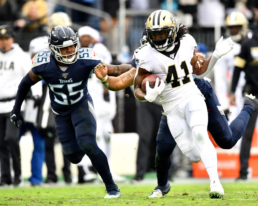 New Orleans Saints running back Alvin Kamara (41), and former Tennessee Volunteer standout, in action during the second half of an NFL game against the Tennessee Titans Sunday, Dec. 22, 2019, at Nissan Stadium in Nashville, Tenn.