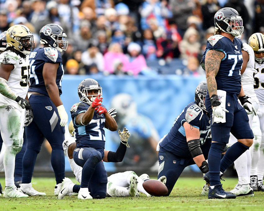 Tennessee Titans running back Dion Lewis (33) makes note of his first down in the second quarter of an NFL game against the New Orleans Saints Sunday, Dec. 22, 2019, at Nissan Stadium in Nashville, Tenn.