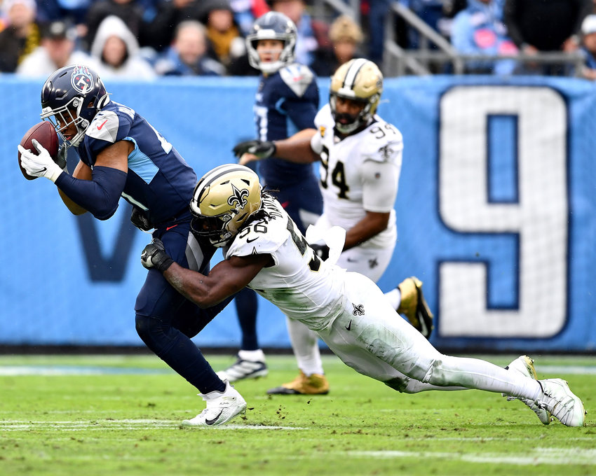 Tennessee Titans running back Khari Blasingame (41) can't hold onto the pass in the first half of an NFL game against the New Orleans Saints Sunday, Dec. 22, 2019, at Nissan Stadium in Nashville, Tenn.