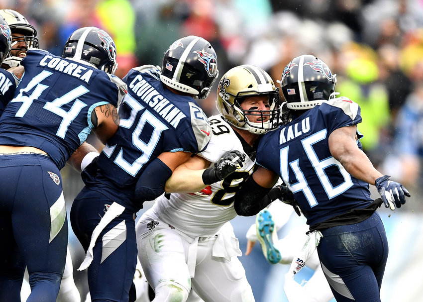 From the first half of an NFL game between the New Orleans Saints and the Tennessee Titans Sunday, Dec. 22, 2019, at Nissan Stadium in Nashville, Tenn.