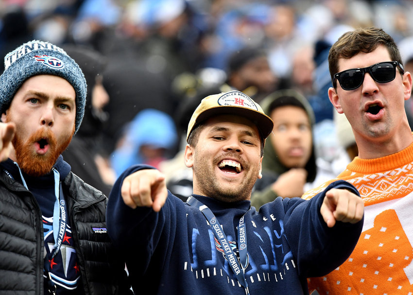 Fans in the stands, in the first half of an NFL game between the New Orleans Saints and the Tennessee Titans Sunday, Dec. 22, 2019, at Nissan Stadium in Nashville, Tenn.