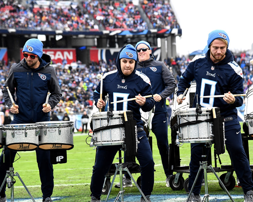 The Tennessee Titans Blue Crew drumline perform during the first half of an NFL game against the New Orleans Saints Sunday, Dec. 22, 2019, at Nissan Stadium in Nashville, Tenn.