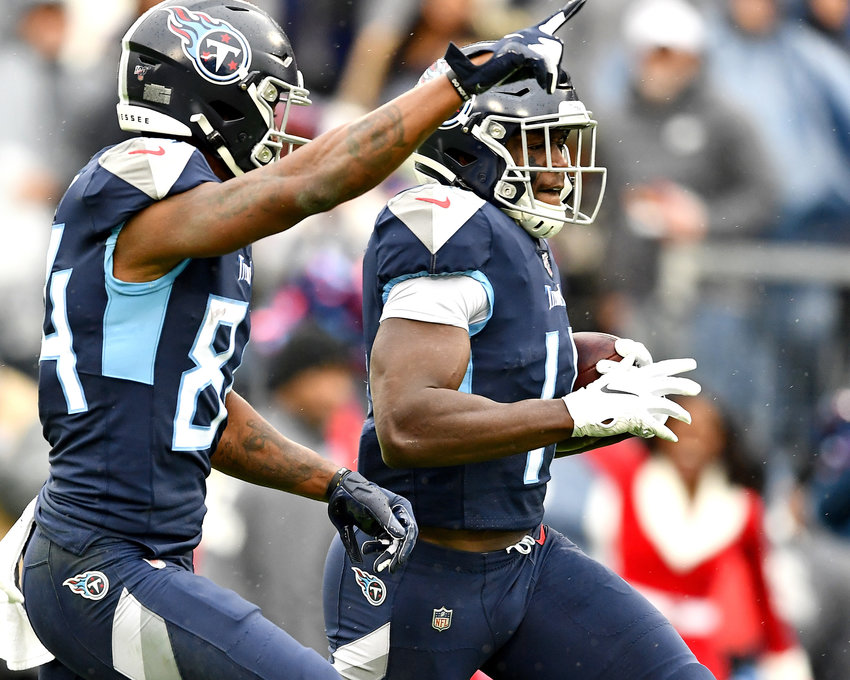 Tennessee Titans wide receiver A.J. Brown (11) with a big catch and a touchdown during the first quarter of an NFL game against the New Orleans Saints Sunday, Dec. 22, 2019, at Nissan Stadium in Nashville, Tenn.