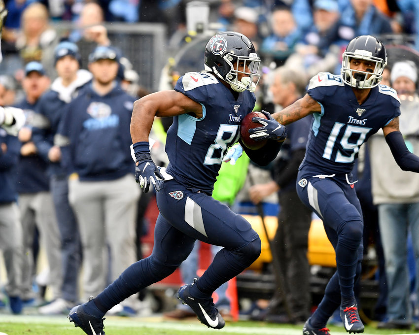 Tennessee Titans tight end Jonnu Smith (81) with the catch and a touchdown during the first half of an NFL game against the New Orleans Saints Sunday, Dec. 22, 2019, at Nissan Stadium in Nashville, Tenn.