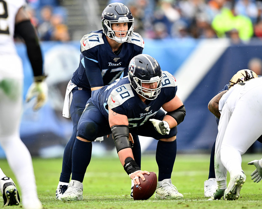 Tennessee Titans quarterback Ryan Tannehill (17) sets up under center during the first half of an NFL game against the New Orleans Saints Sunday, Dec. 22, 2019, at Nissan Stadium in Nashville, Tenn.