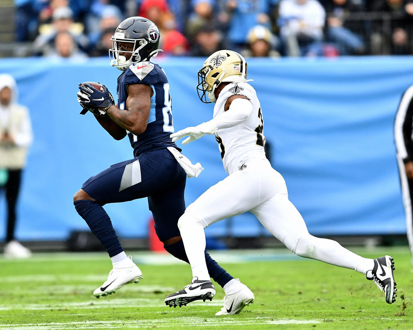 Tennessee Titans wide receiver Corey Davis (84) makes the catch in stride during the first half of an NFL game against the New Orleans Saints Sunday, Dec. 22, 2019, at Nissan Stadium in Nashville, Tenn.