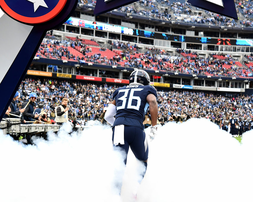 Tennessee Titans cornerback LeShaun Sims (36) takes the field prior to the start an NFL game against the New Orleans Saints Sunday, Dec. 22, 2019, at Nissan Stadium in Nashville, Tenn.