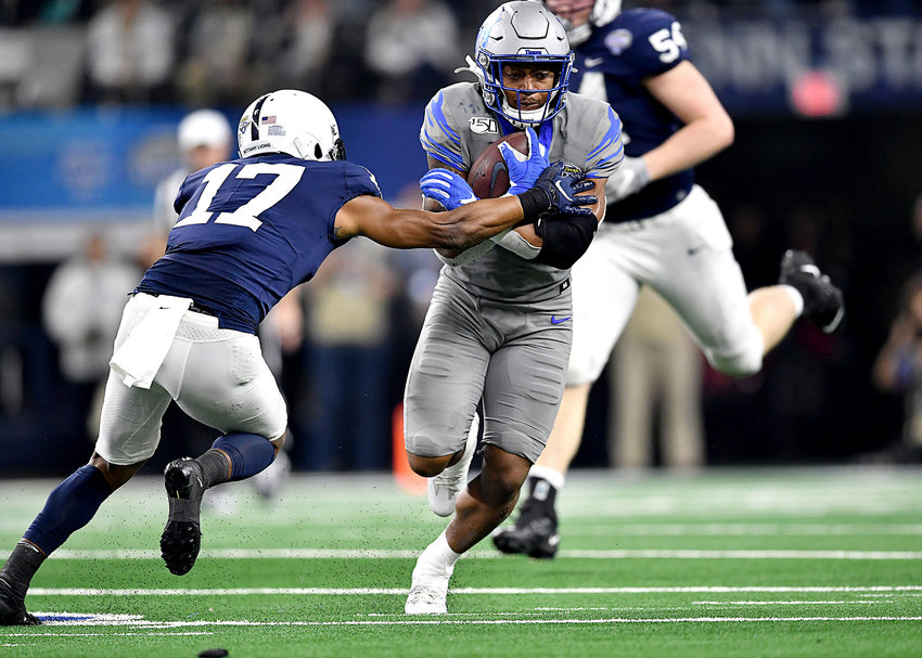 Memphis Tigers wide receiver Antonio Gibson (14) finds the edge and room to run in the second half of the Cotton Bowl NCAA football game against the Penn State Nittany Lions Saturday, Dec. 28, 2019, at AT&T Stadium in Arlington, Texas.