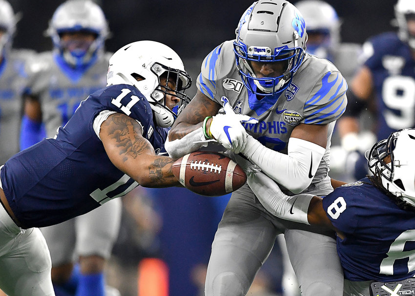 Memphis Tigers tight end Tyce Daniel (88) makes the catch but can't hold onto the ball in the first half of the Cotton Bowl NCAA football game against the Penn State Nittany Lions Saturday, Dec. 28, 2019, at AT&T Stadium in Arlington, Texas. AT&T Stadium in Arlington, Texas.