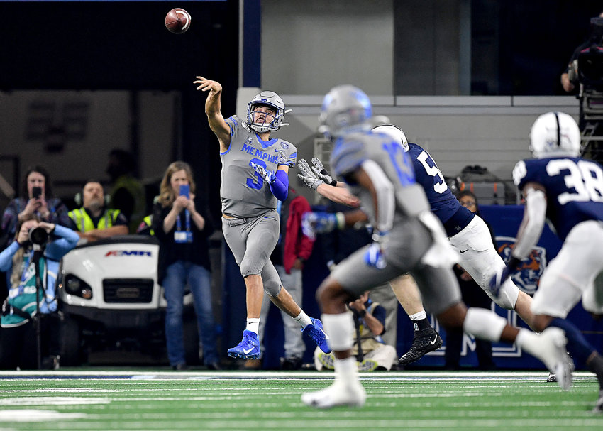Memphis Tigers quarterback Brady White (3) goes long during the first half of the Cotton Bowl NCAA football game against the Penn State Nittany Lions Saturday, Dec. 28, 2019, at AT&T Stadium in Arlington, Texas.