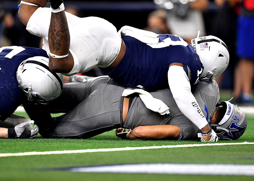 Memphis Tigers quarterback Brady White (3) is sacked near his own goal line in the first half of the Cotton Bowl NCAA football game against the Penn State Nittany Lions Saturday, Dec. 28, 2019, at AT&T Stadium in Arlington, Texas.